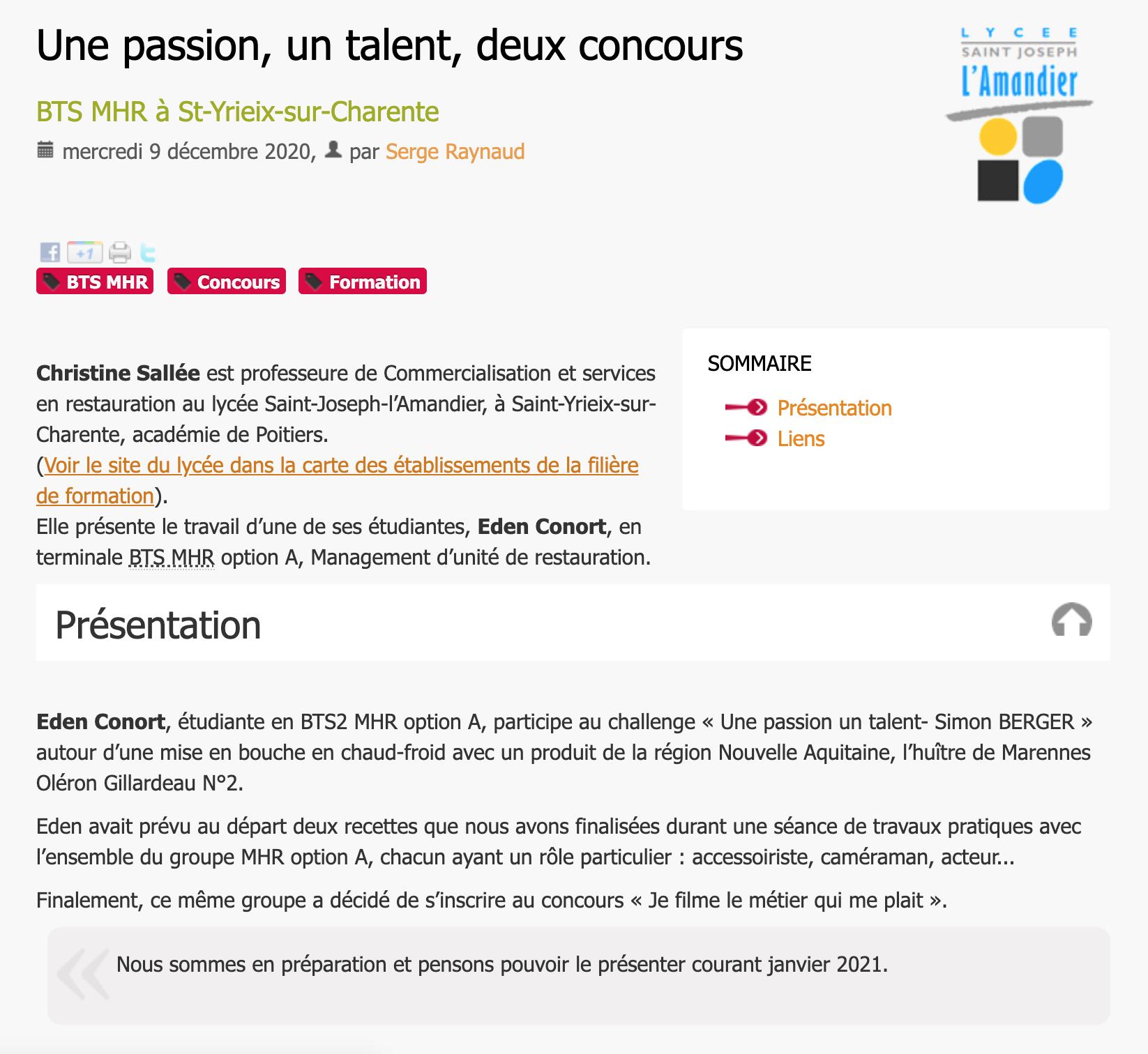 Une passion, un talent, deux concours