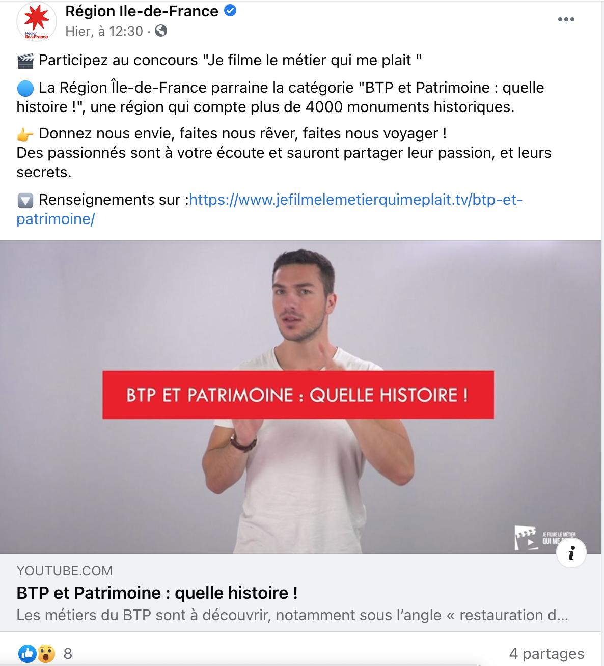 Facebook Région Île-de-France - 21/12/2020