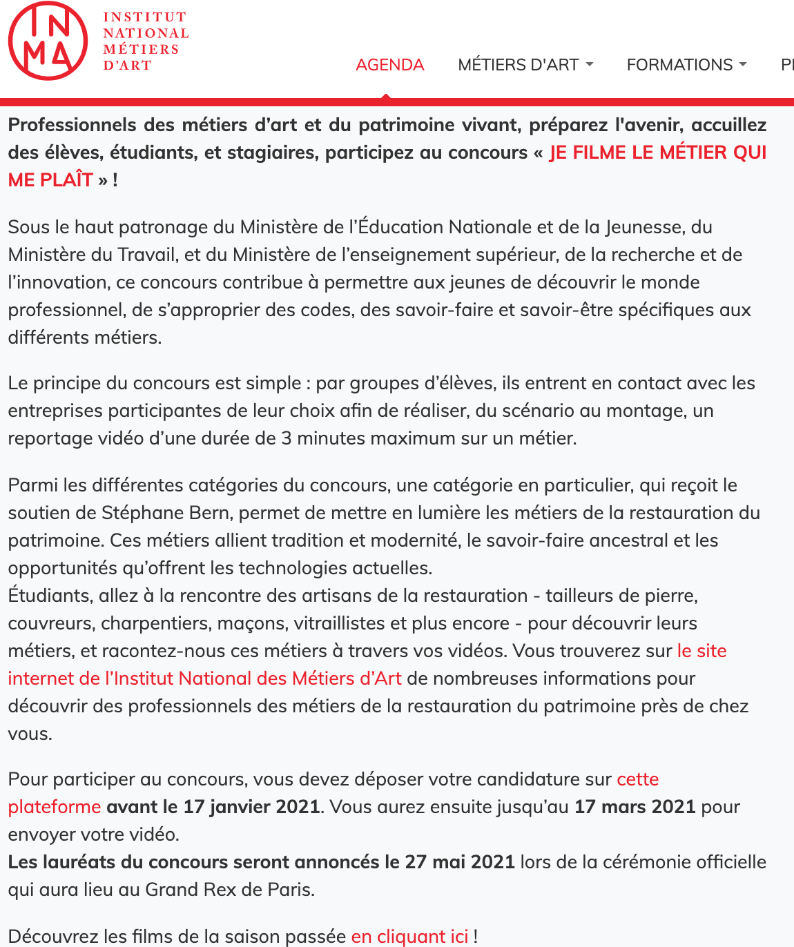 Institut National des Métiers d'Arts - 05/01/2021