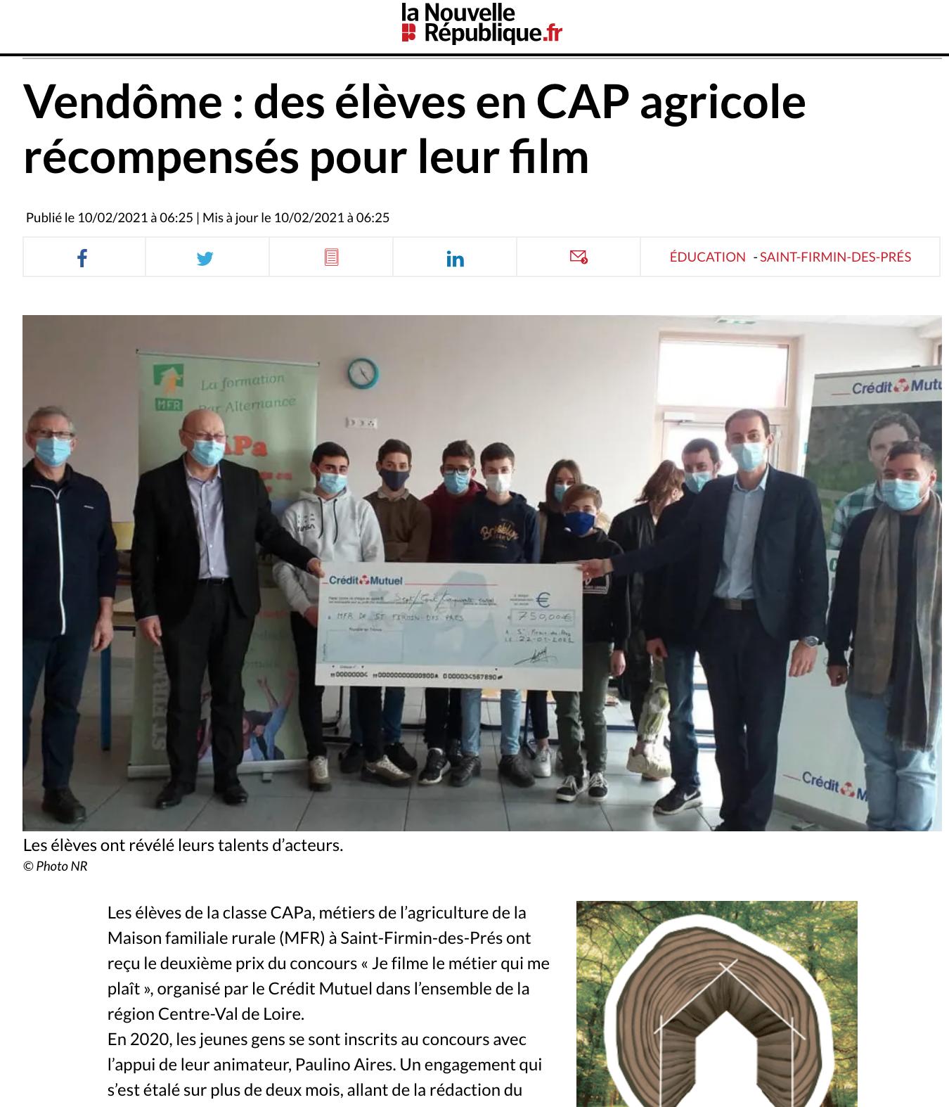 La Nouvelle République.fr - 10/02/2021