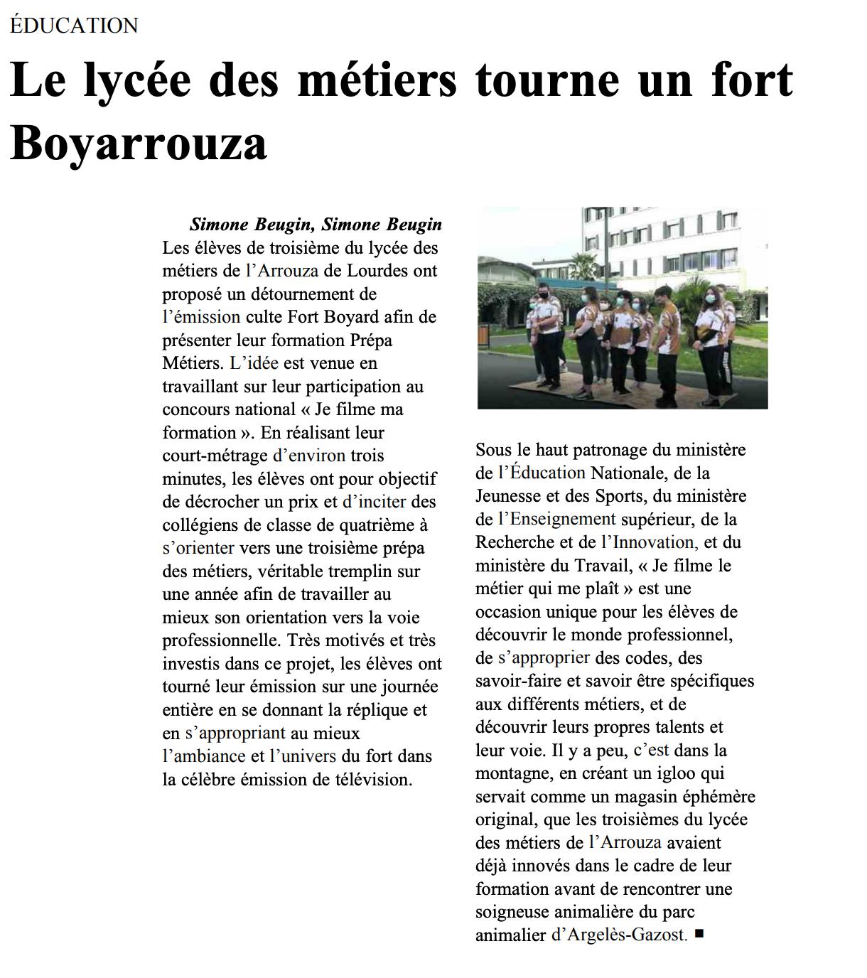 Le lycée des métiers tourne un fort Boyarrouza
