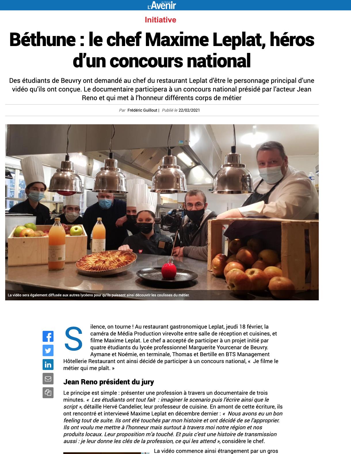 L'Avenir de l'Artois - 22/02/2021