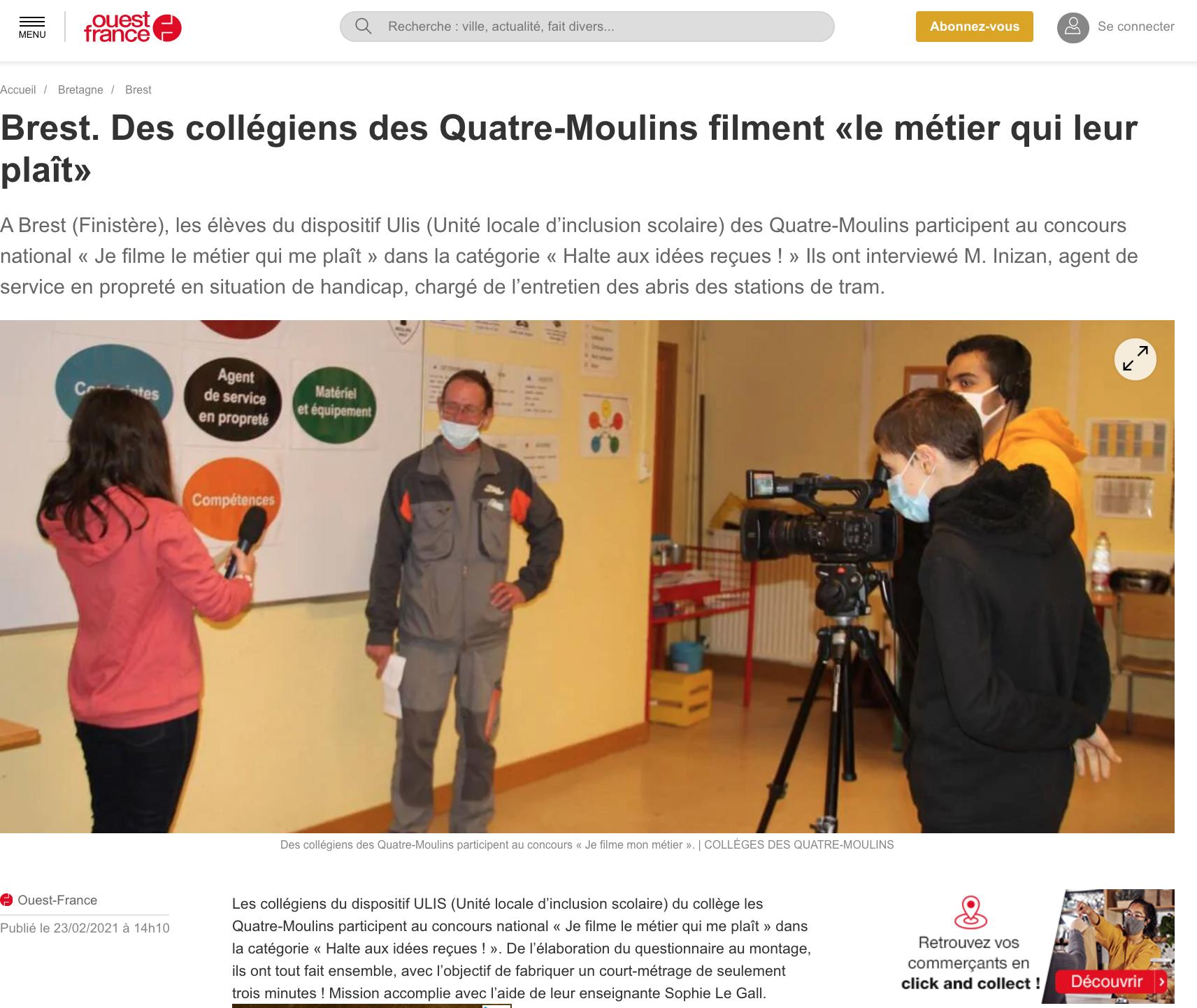 Brest. Des collégiens des Quatre-Moulins filment «le métier qui leur plaît»