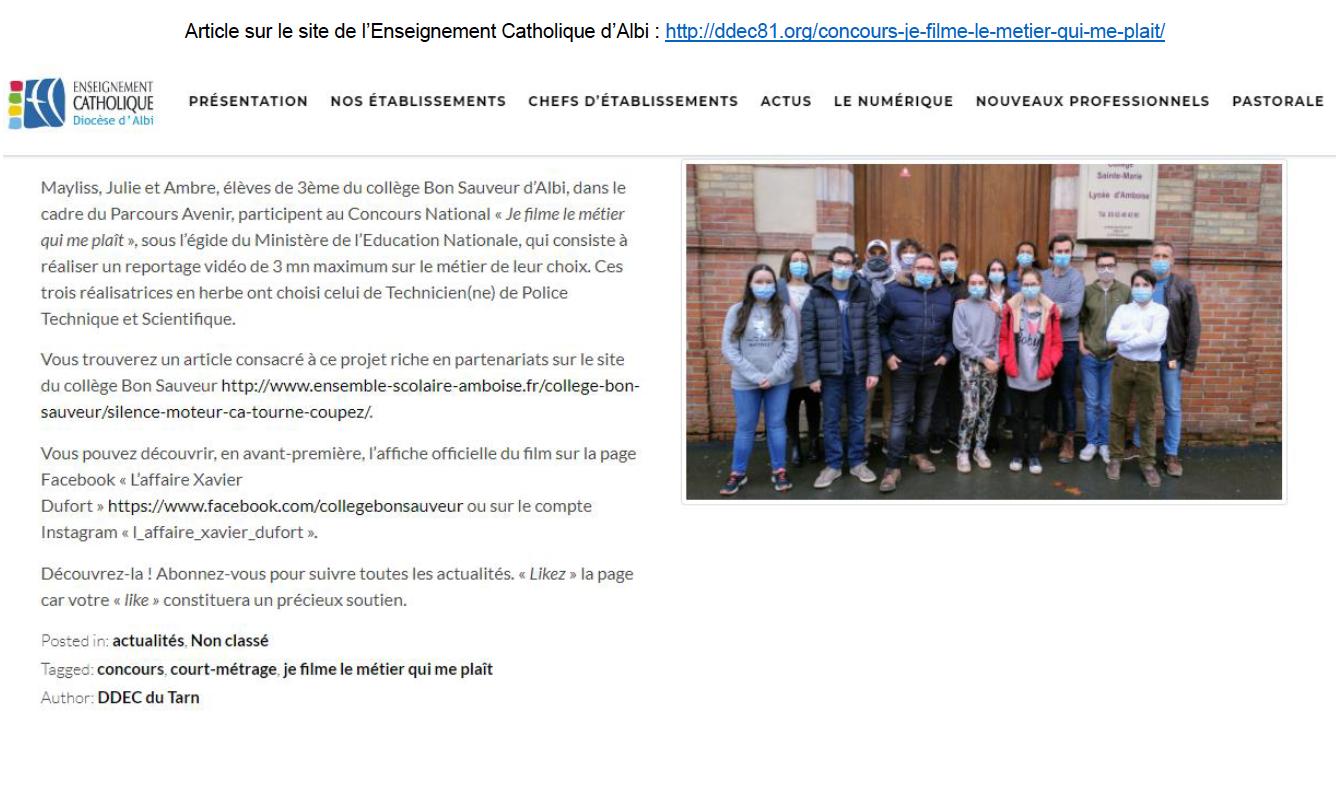 Enseignement Catholique d'Albi - 26/03/2021