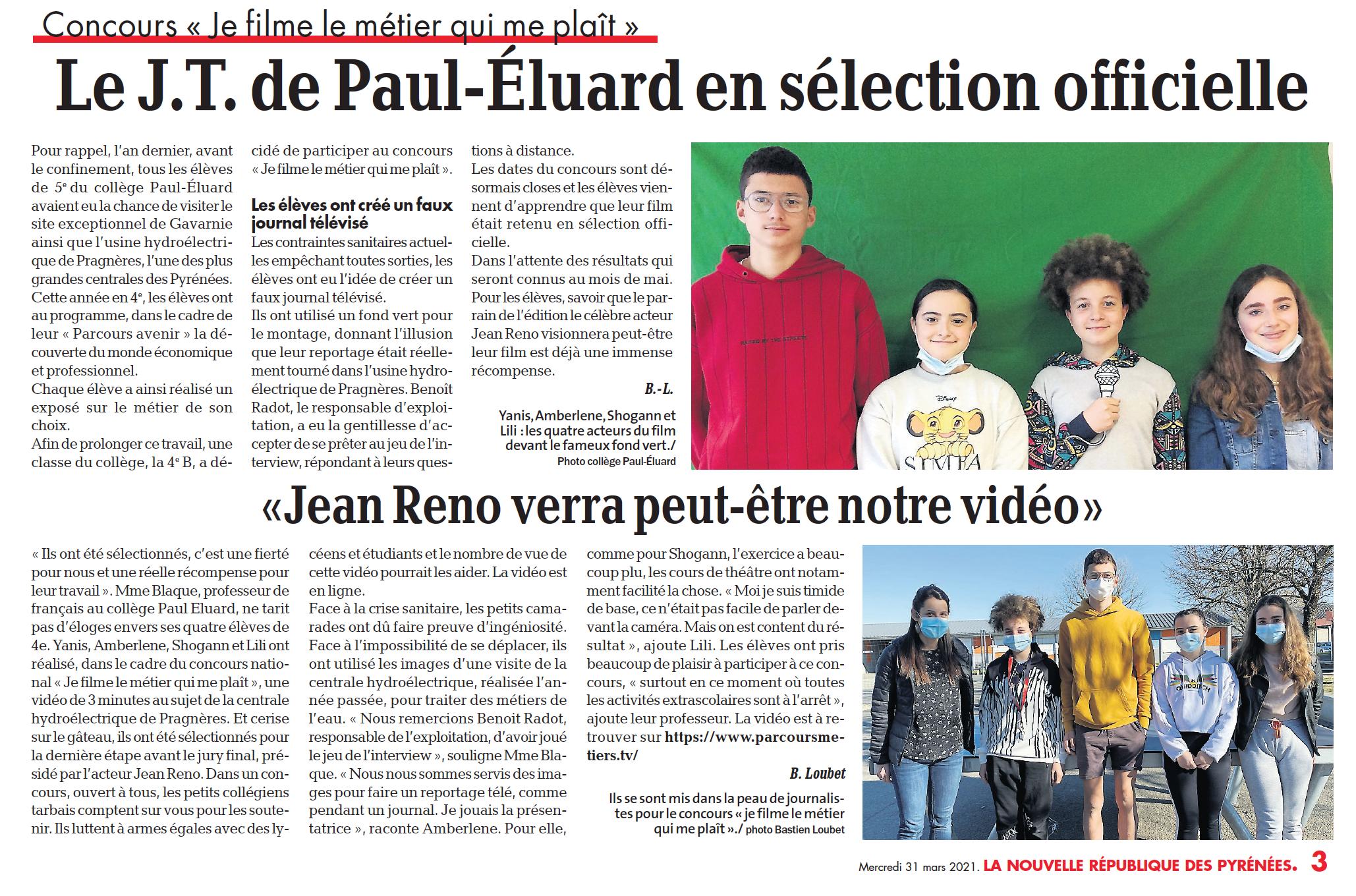 Le J.T. de Paul-Éluard en sélection officielle