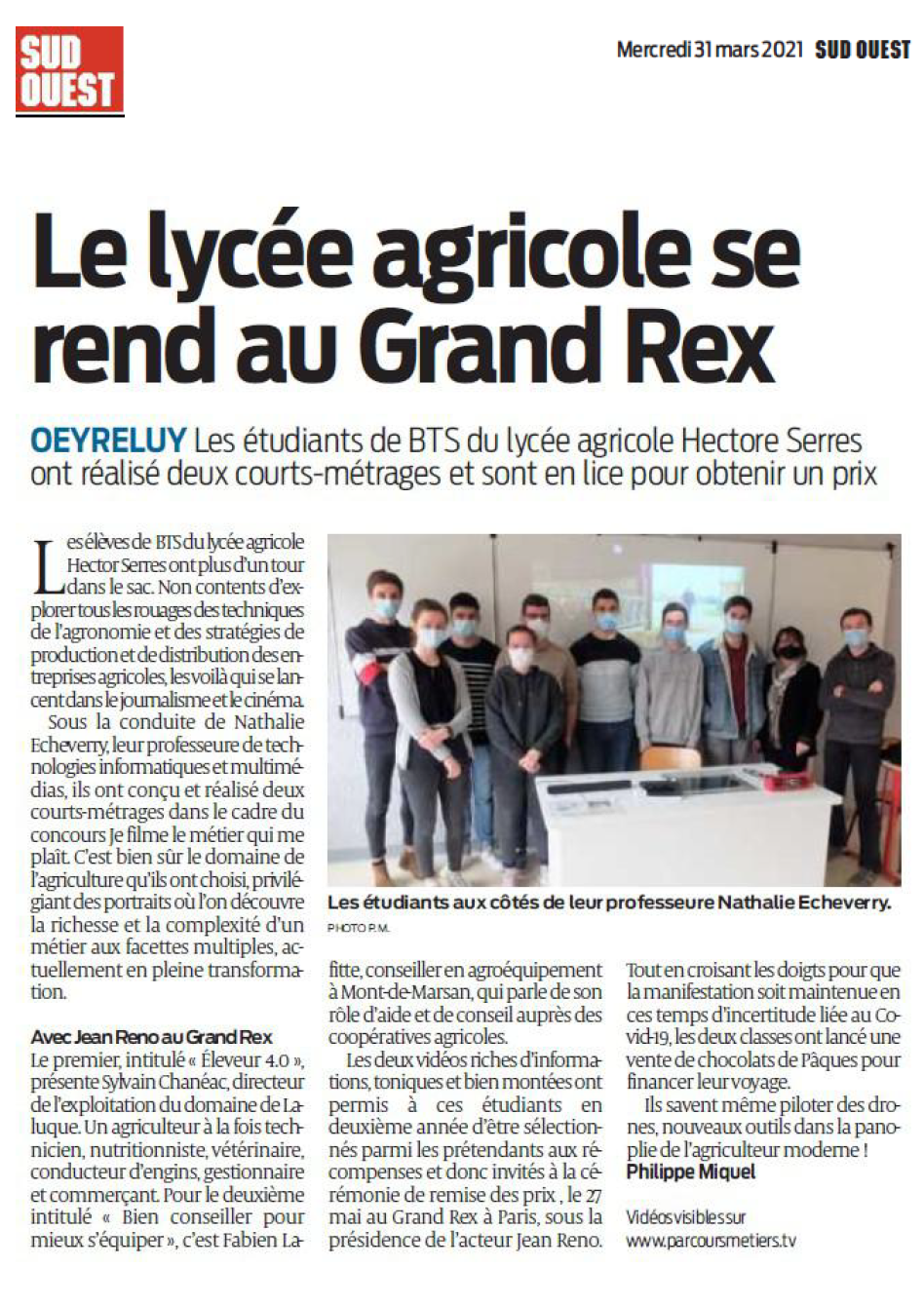 Sud Ouest - 31/03/2021