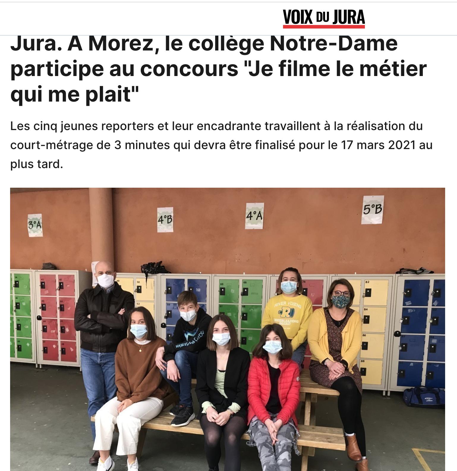 """Jura. A Morez, le collège Notre-Dame participe au concours """"Je filme le métier qui me plait"""""""