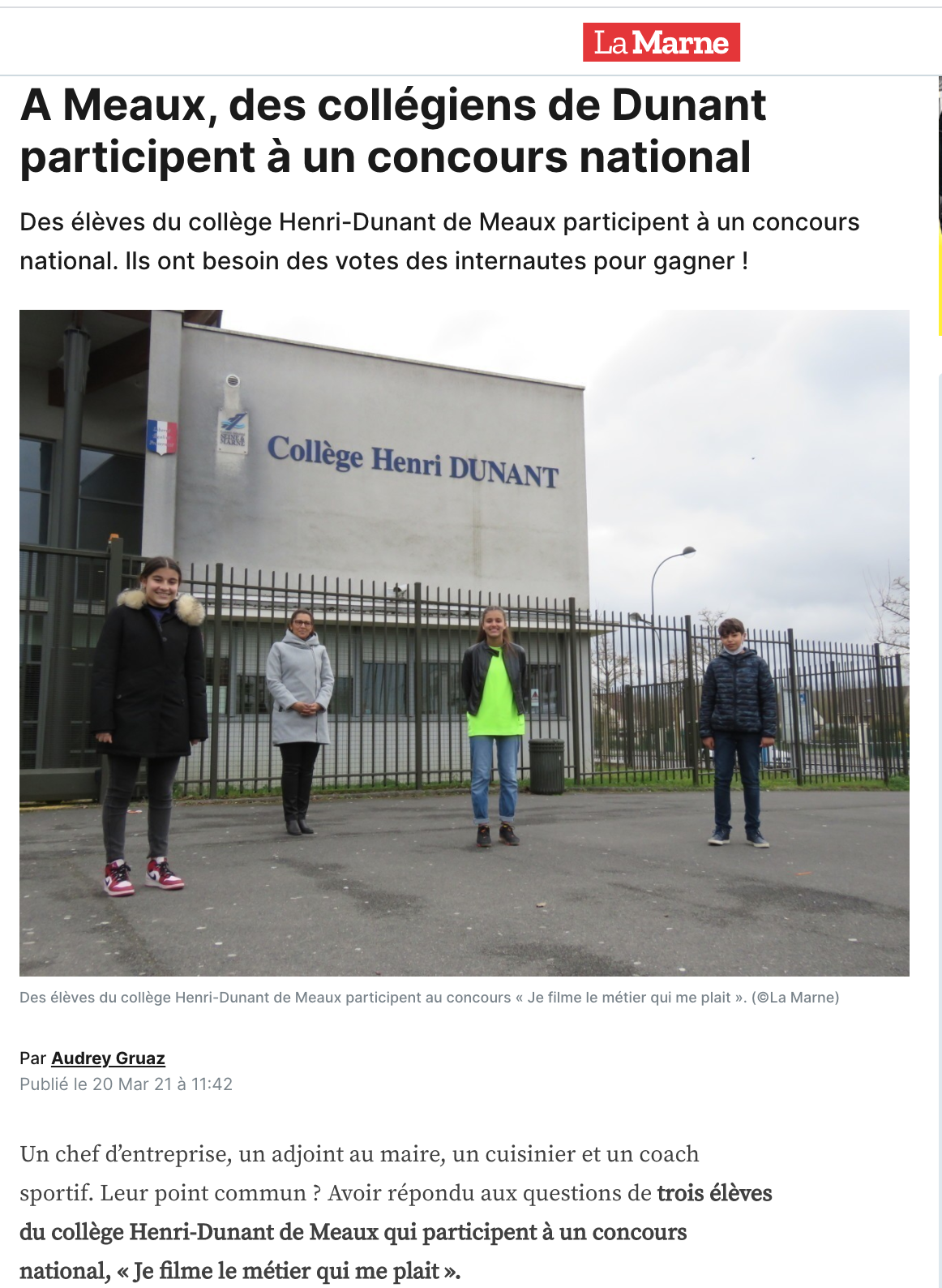 À Meaux, des collégiens de Dunant participent à un concours national