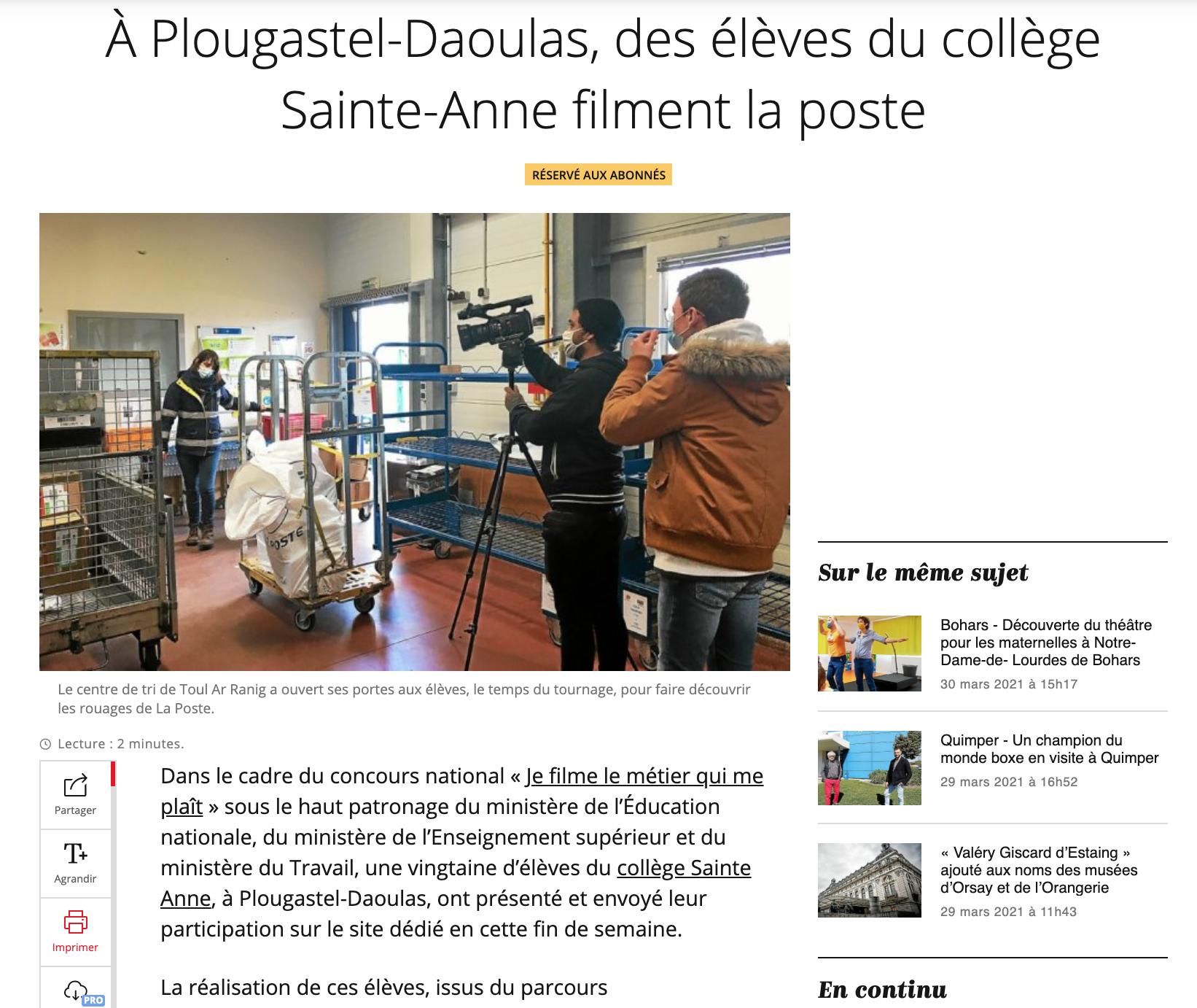 À Plougastel-Daoulas, des élèves du collège Sainte-Anne filment la poste