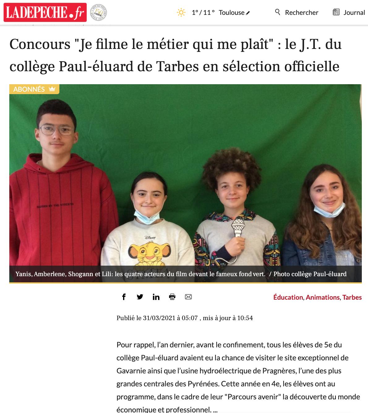 La Dépêche.fr - 31/03/2021