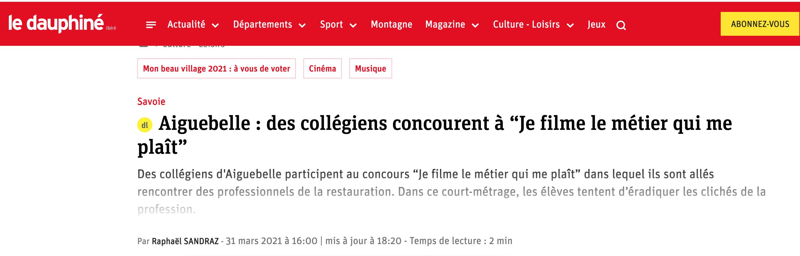 Le Dauphiné Libéré - 31/03/2021