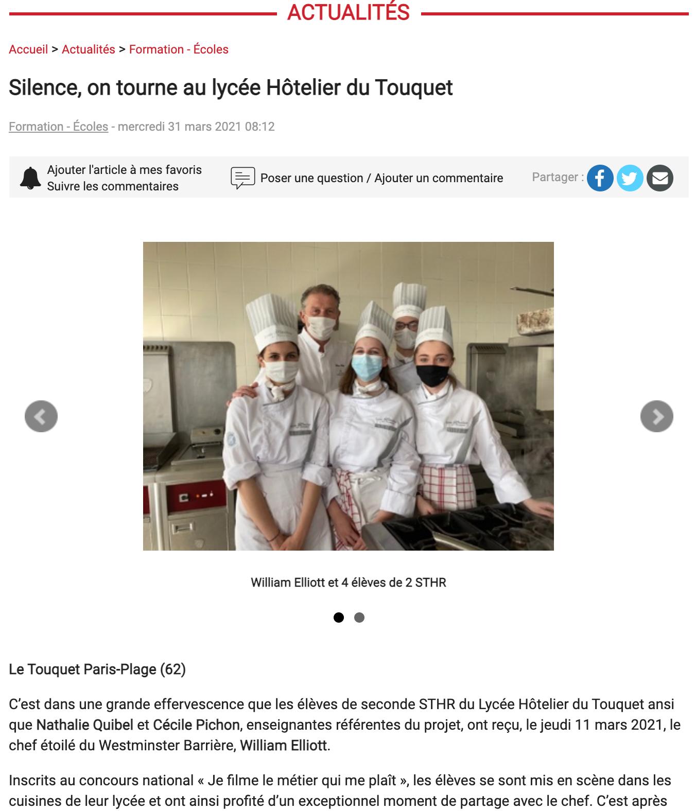 Silence, on tourne au lycée Hôtelier du Touquet
