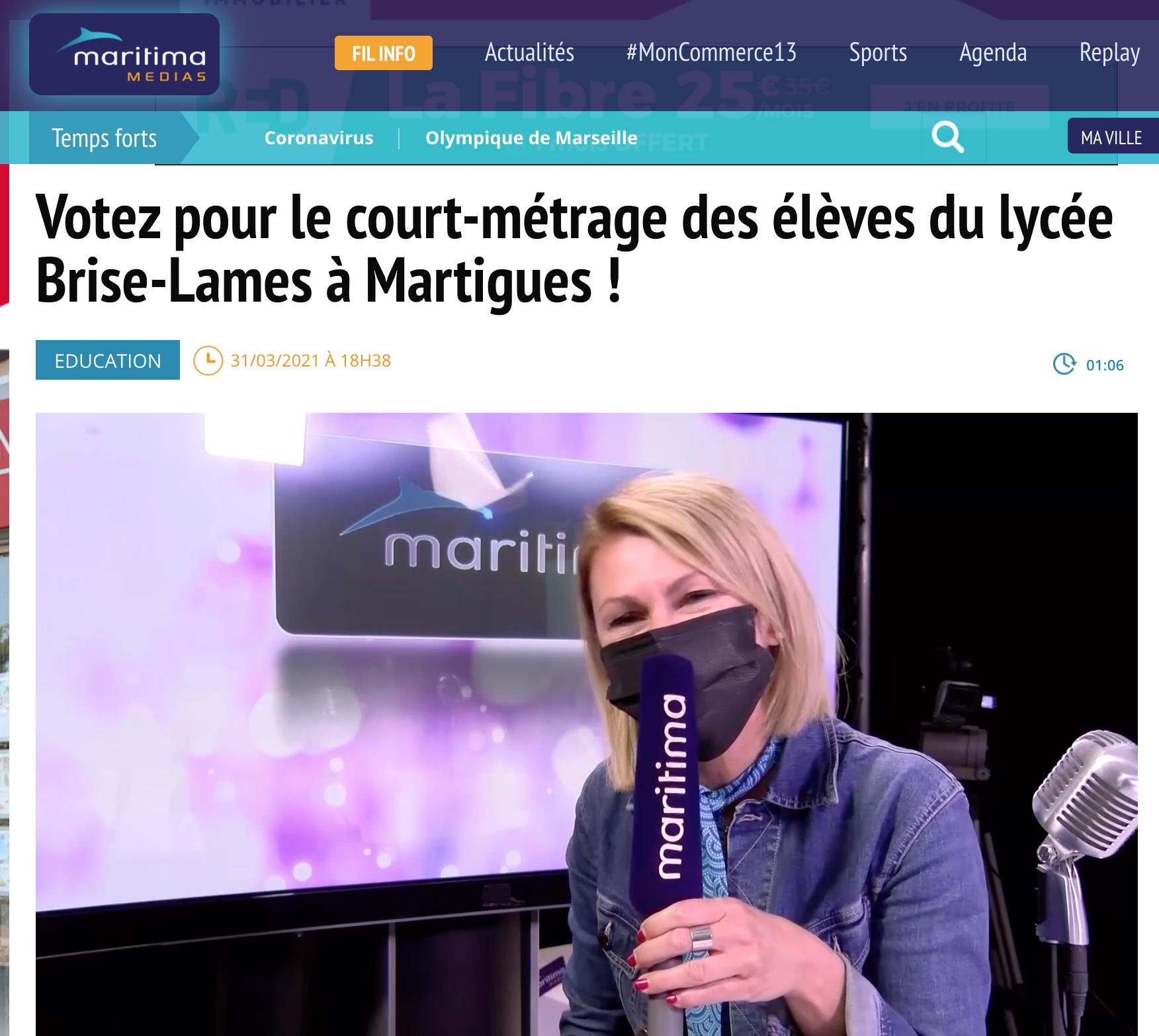 Votez pour le court-métrage des élèves du lycée Brise-Lames à Martigues !