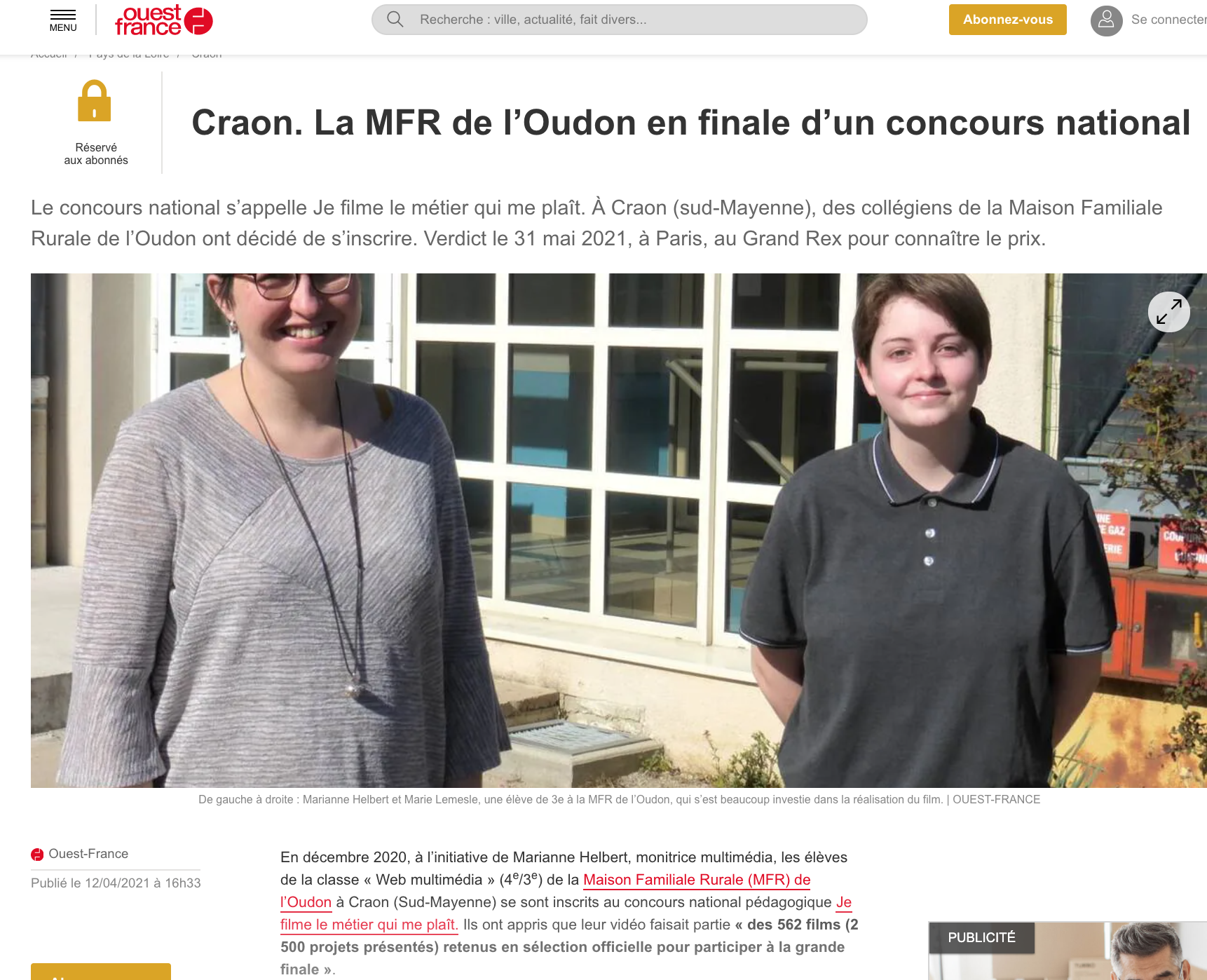 Ouest-France - 12/04/2021