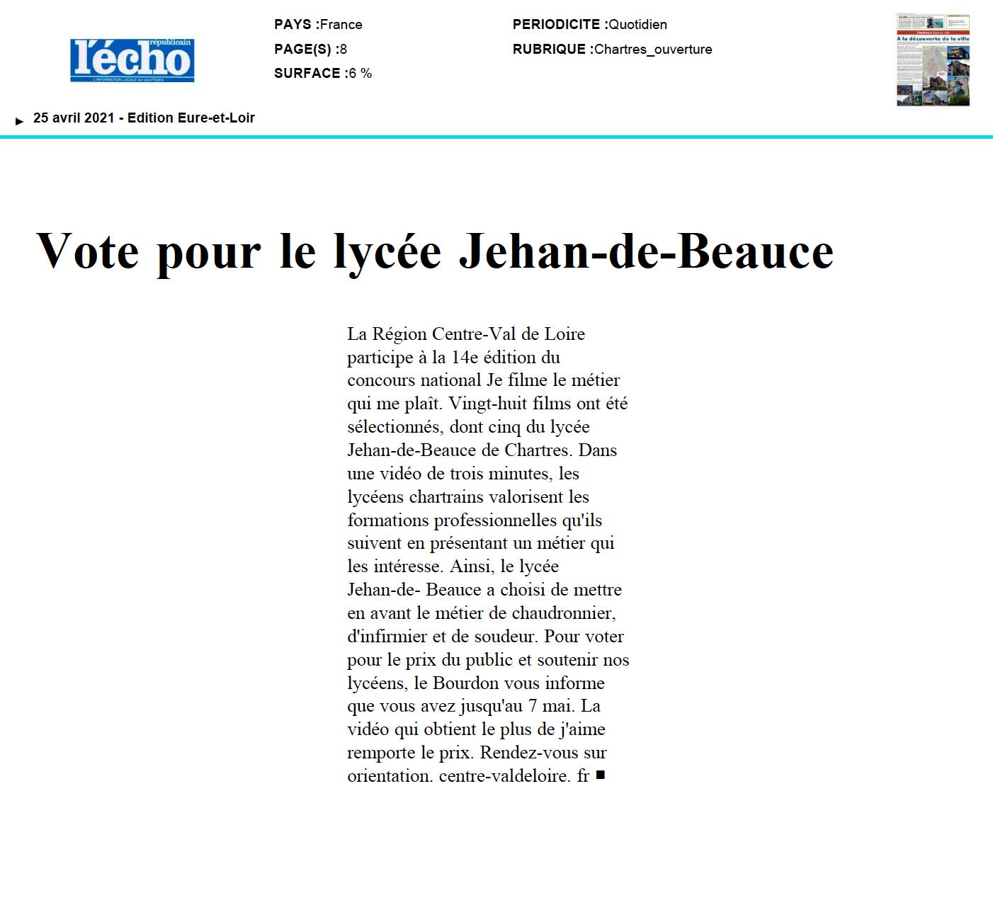 Vote pour le lycée Jehan-de-Beauce