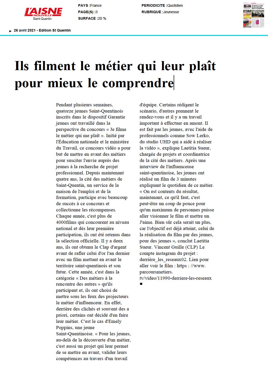 L'Aisne Nouvelle - 26/04/2021