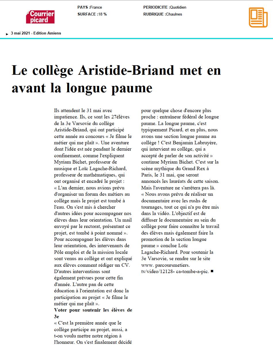 Le Courrier Picard - 03/05/2021