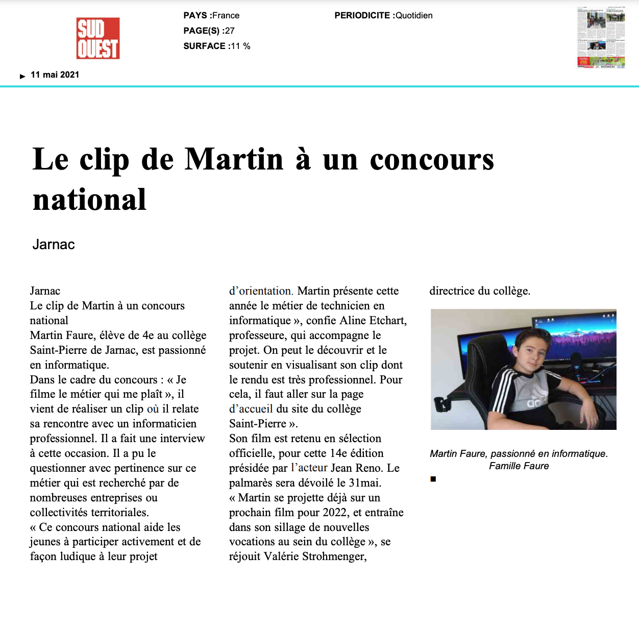 Sud Ouest - 11/05/2021