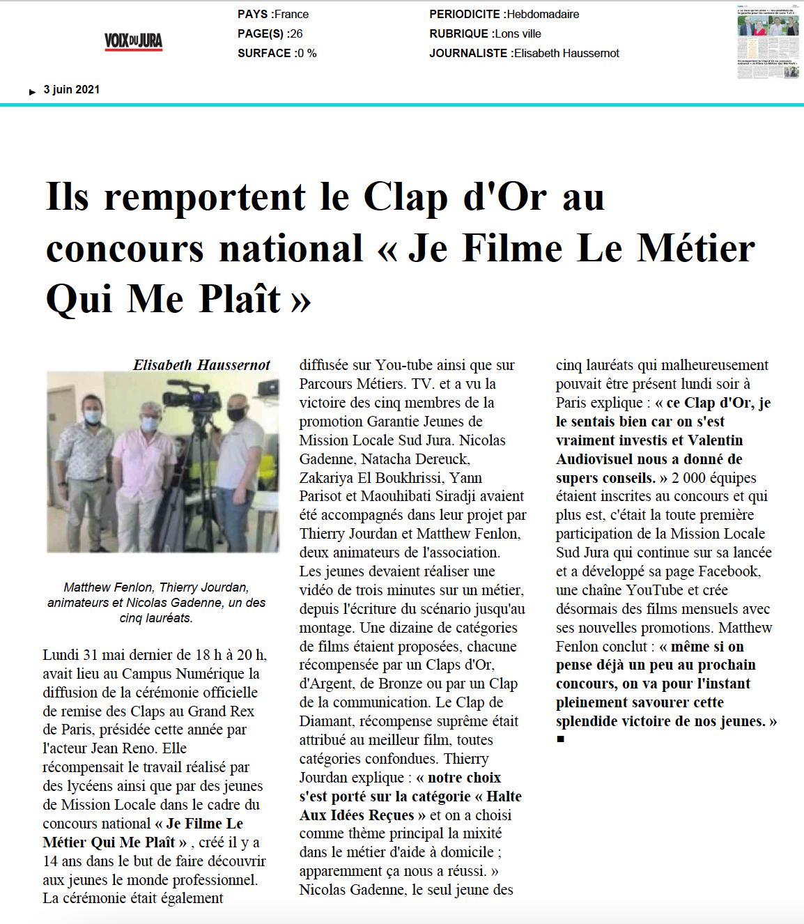 La Voix du Jura - 03/06/2021