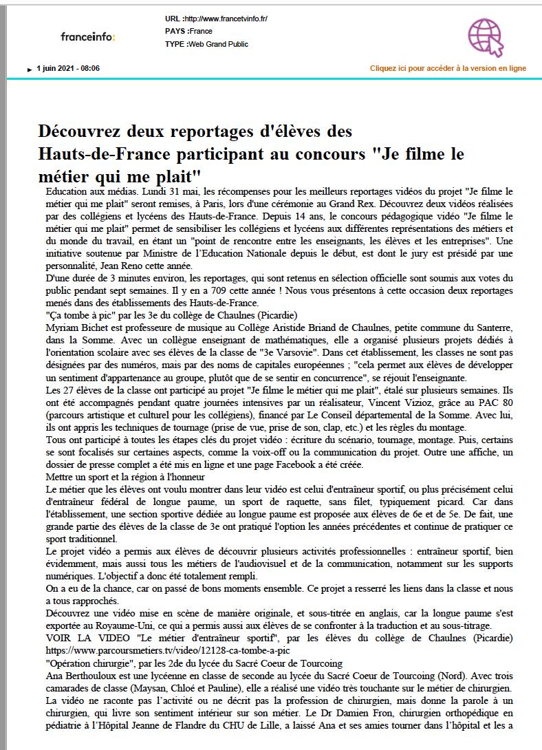 France Info- 01/06/2021