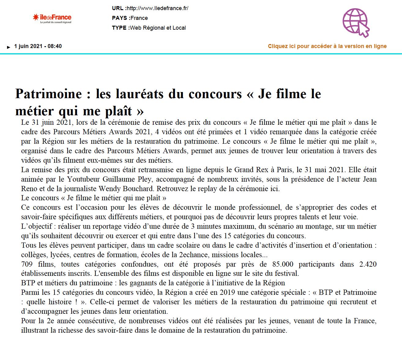 Région Île-de-France - 01/06/2021