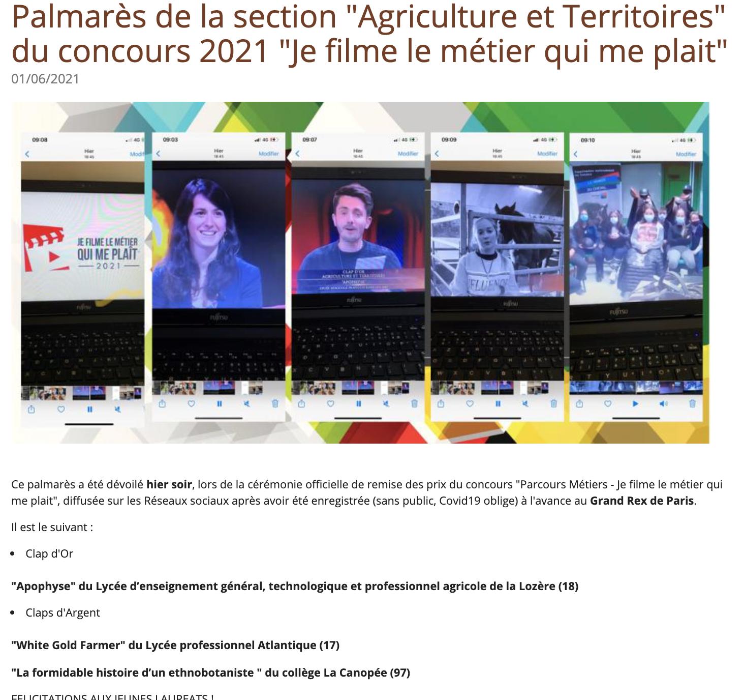 Académie d'Agriculture de France - 01/06/2021