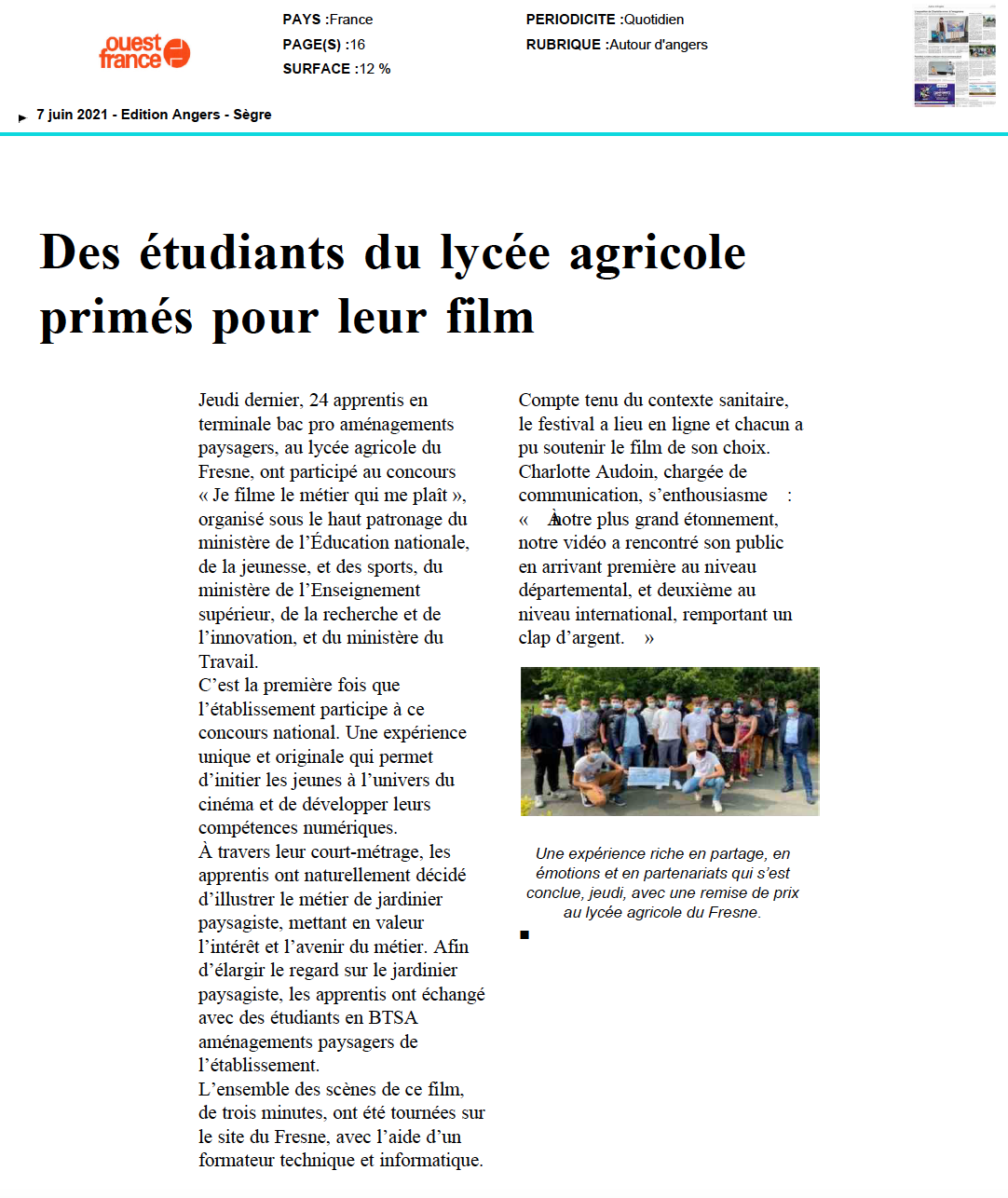 Ouest France - 07/06/2021