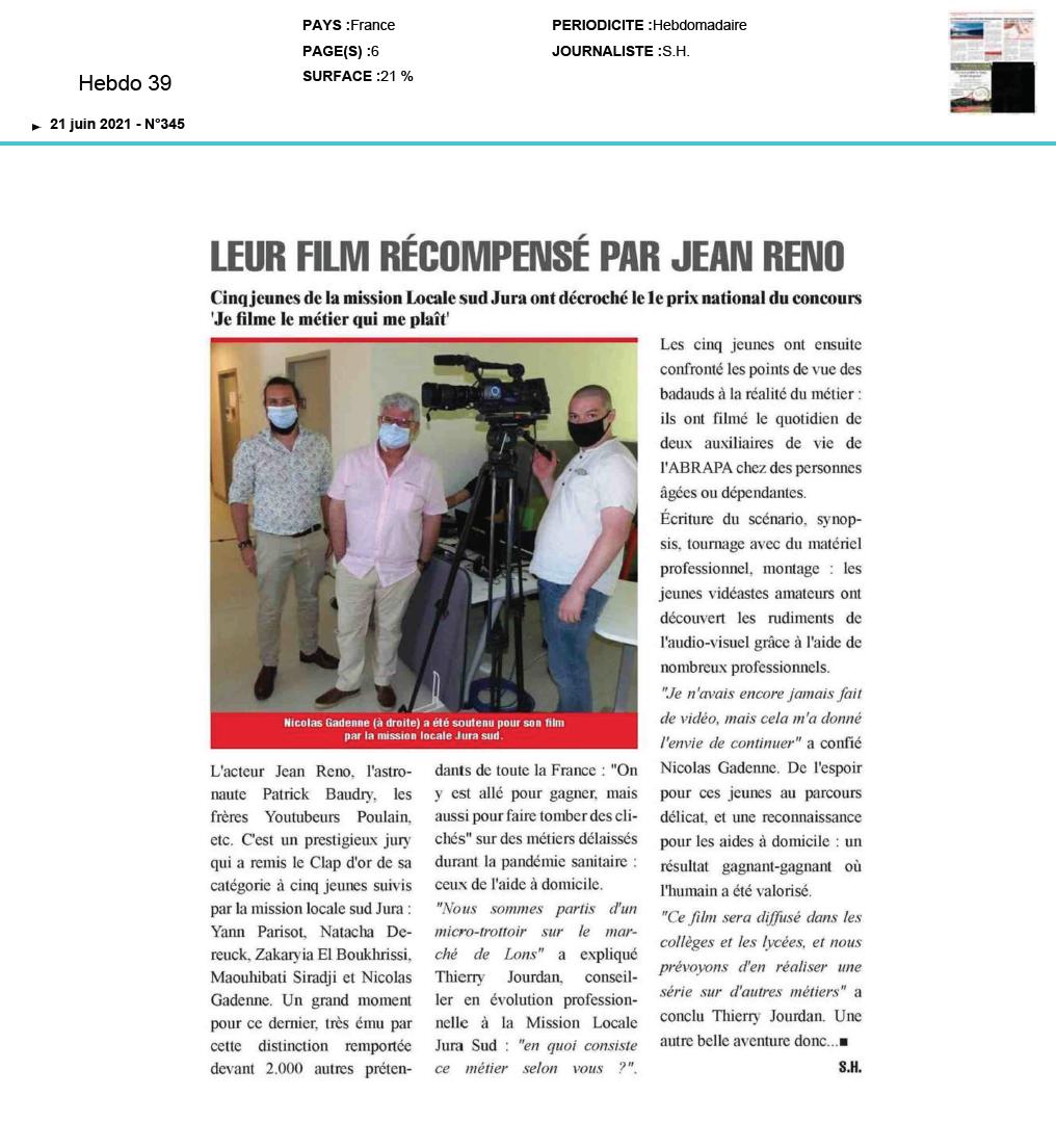 Hebdo 39 - 21/06/2021