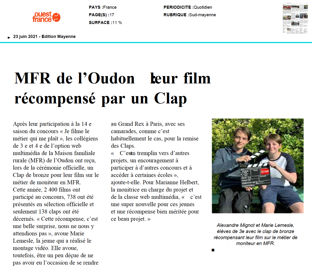 Ouest France - 23/06/2021